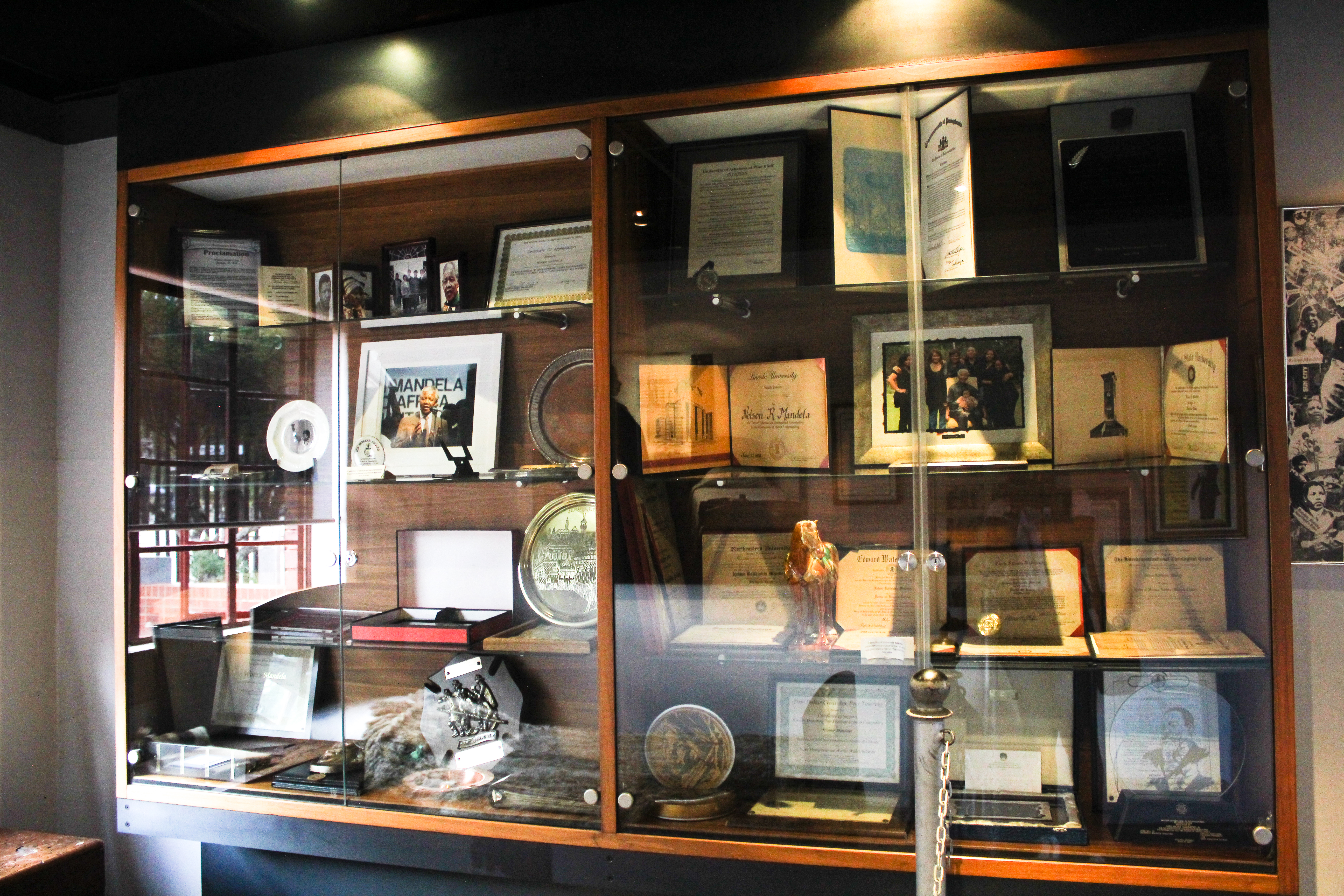 Display cabinet at Mandela House Soweto South Africa