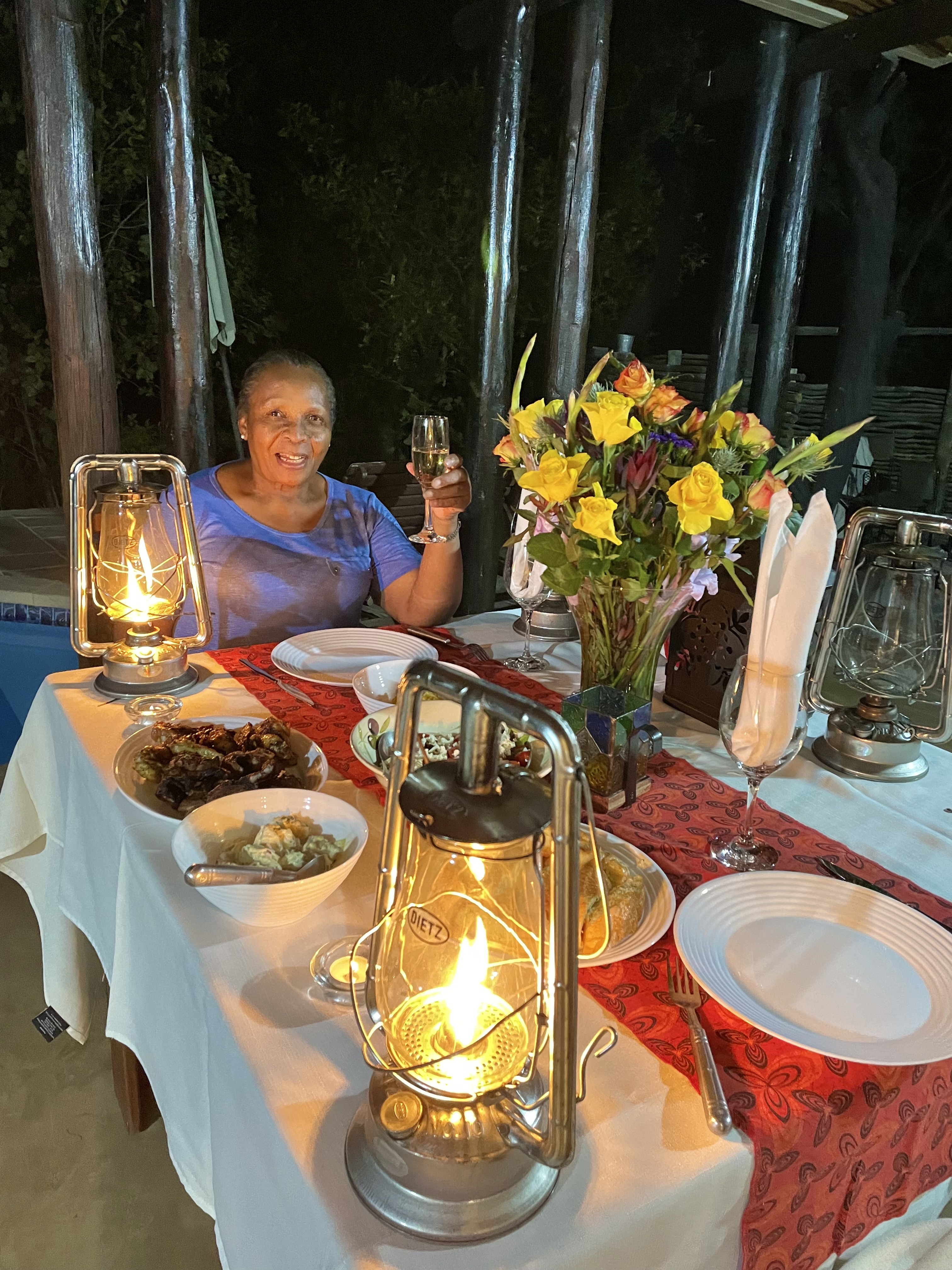 Moms birthday dinner at Dinokeng game Reserve